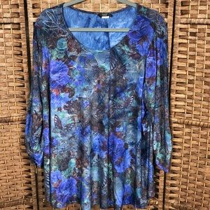 Cocomo Woman Blue 3/4 Sleeve Bohemian Top Sz 2X
